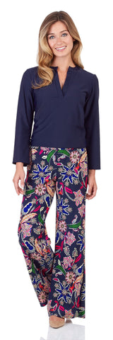 Trixie Wide Leg Pant in Whimsical Floral Navy