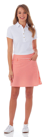 Sonia Skort in Gingham Apricot - FINAL SALE