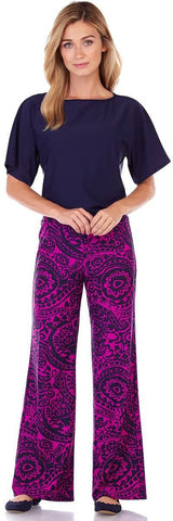 Trixie Wide Leg Pant in Tango Paisley Orchid - FINAL SALE - Jude Connally - 1