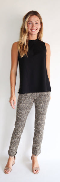 Lucia Pant <br>Ponte Knit - Texture Cheetah