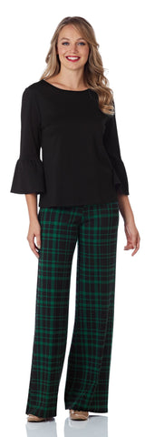 Trixie Ponte Wide Leg Pant in Plaid Black/Forest