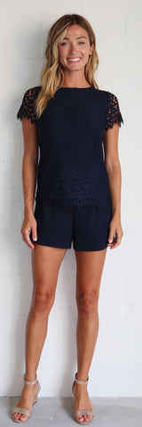 Mindy Short <br> Spring Lace - Navy