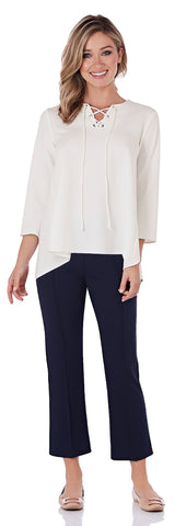 Dakota Stretch Crepe Ankle Length Pant in Navy