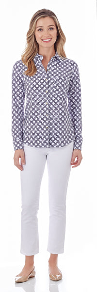 Taylor Shirt in Linked Lattice White Navy