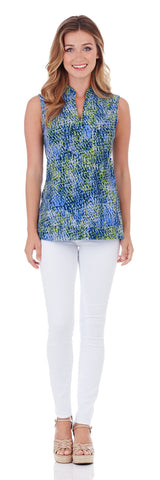 Keira Tunic Top in Painted Snakeskin Soft Blue