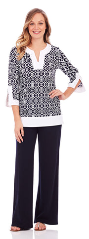 Audrey Tunic in Lattice Geo Navy - Jude Connally - 1