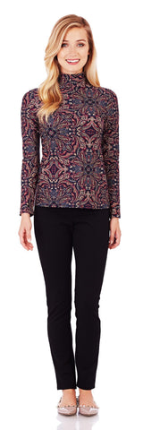 Abbie Turtleneck Top in Timeless Paisley Black - Jude Connally - 1