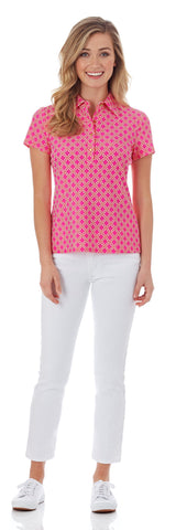 Sydney Polo Shirt in Linked Lattice Pink