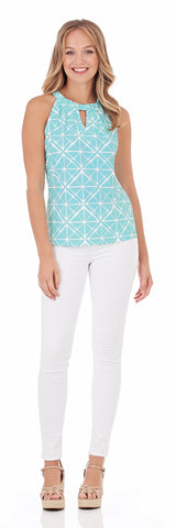 Claire Keyhole Top in Graphic Geo Soft Aqua - FINAL SALE
