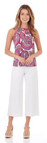 Claire Keyhole Top in Paradise Paisley Fuchsia