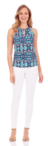 Claire Keyhole Top in Watercolor Ikat Navy - FINAL SALE