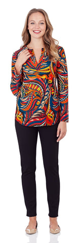 Josie Tunic Top in Sundance Paisley Red