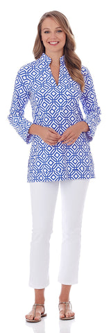 Chris Tunic Top in Grand Links White Sapphire