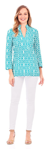 Chris Tunic in Lattice Geo Turquoise - Jude Connally - 1