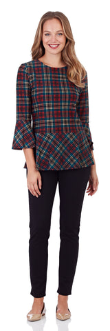 Delilah Peplum Top in Classic Plaid Red - FINAL SALE