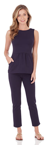 Millie Ponte Peplum Top in Dark Navy