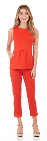 Millie Ponte Peplum Top in Tangerine