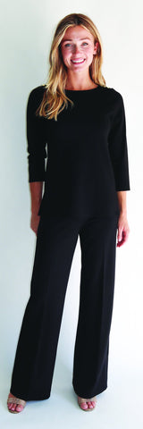 Lyndsey Top <br>Ponte Knit - Black