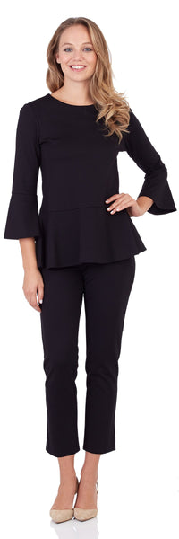 Delilah Ponte Peplum Top in Black