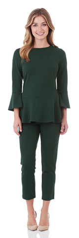 Lucia Ponte Slim Cropped Pant in Pine - FINAL SALE