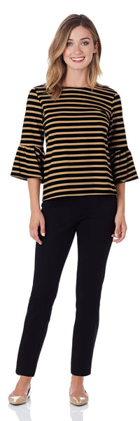 Dixie Ponte Top in Bengal Stripe Black