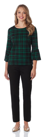 Dixie Ponte Top in Plaid Black/Forest - FINAL SALE