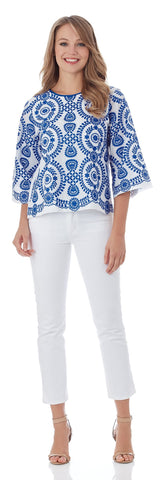St. Barts 3/4 Sleeve Top in Azure/White - FINAL SALE
