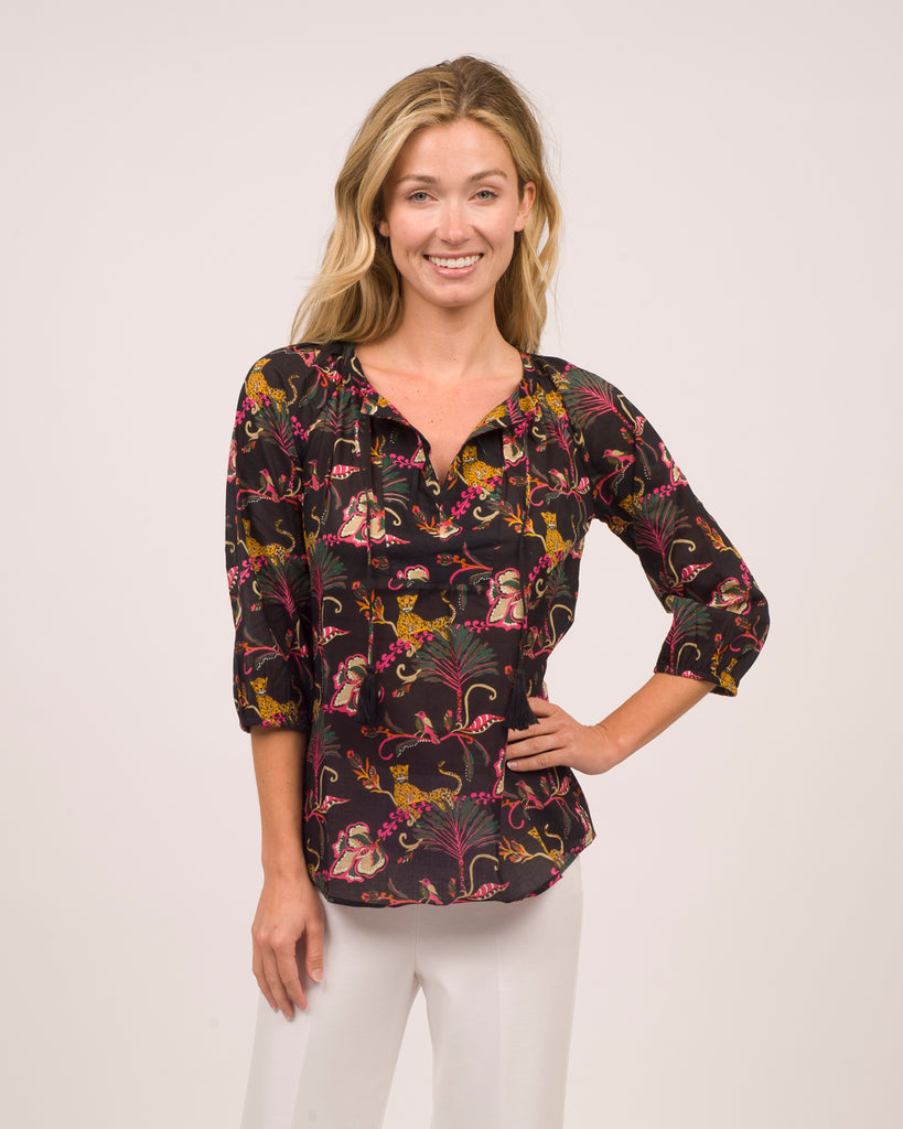 Katarina Top <br>Cotton Voile - Lounging Cheetahs