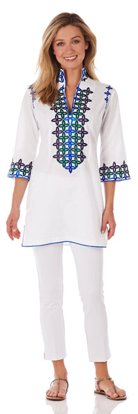 Ariana Tunic Top <br>Cotton Voile - White