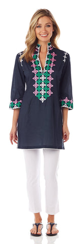 Ariana Cotton Voile Tunic Top in Navy
