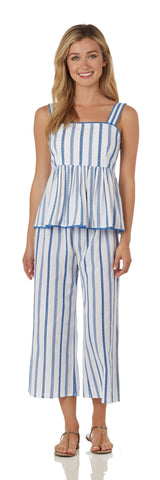 Trixie Cropped Pant<br>Cotton Stripe - Ivory/Blue