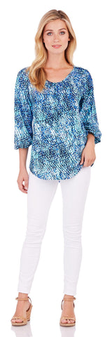 Sheryl Top in Painted Snakeskin Blue - Jude Connally - 2