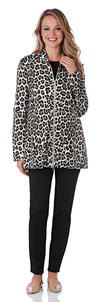 Mallory Ponte Jacket in Leopard Ivory