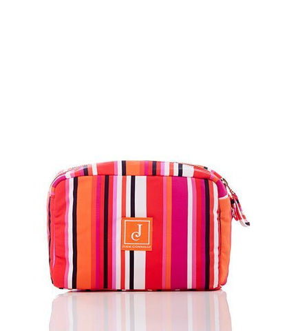 Carson Large Cosmetic Bag in Stripe Multi Fuchsia - Jude Connally - 1