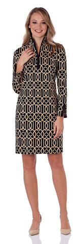 Anna Ponte Dress in Garden Gate Camel/Black