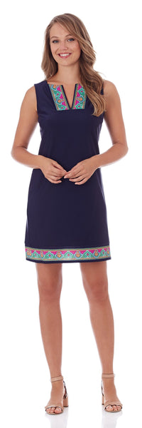 Carissa Shift Dress in Navy Paisley Border - FINAL SALE