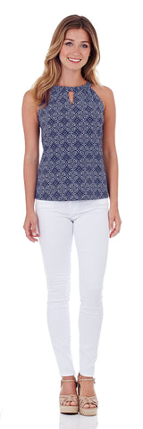 Claire Keyhole Top in Batik Medallion Navy
