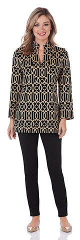 Chris Ponte Tunic Top in Garden Gate Camel/Black