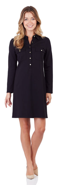 Gracie Ponte Shirt Dress in Black