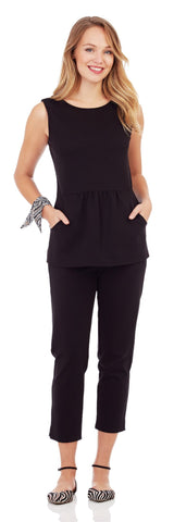 Millie Ponte Peplum Top in Black - Jude Connally - 1