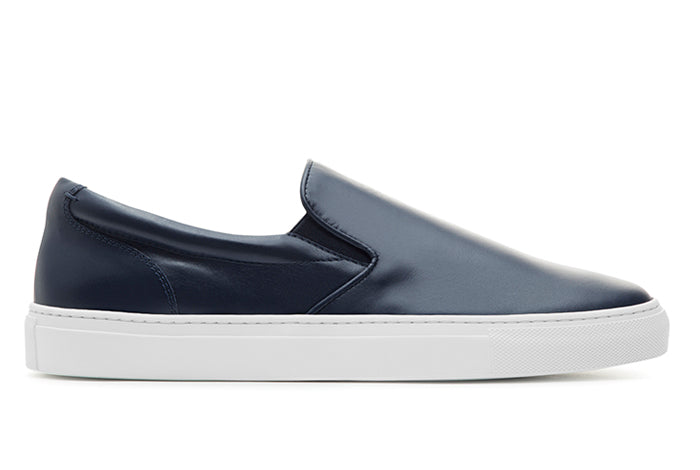 Navy leather slip on shoes 2015 new cheap price outlet clearance store genuine for sale popular cheap price 8YwpZmnj