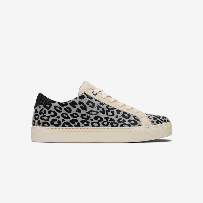 Profile view of the Women's Royale Sneaker in Snow Leopard.