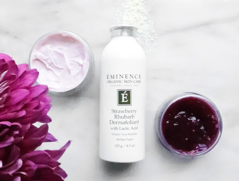 Fall skincare eminence organics Canada skincare for autumn Eminence Organics Strawberry Rhubarb Dermafoliant