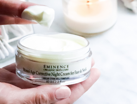eminence organics monoi age corrective night cream for face & neck - 2021 skincare routine