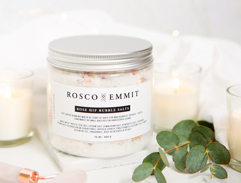 Rosco Emmit Rose Hip Bubble Salts - self-care ritual - the facial room