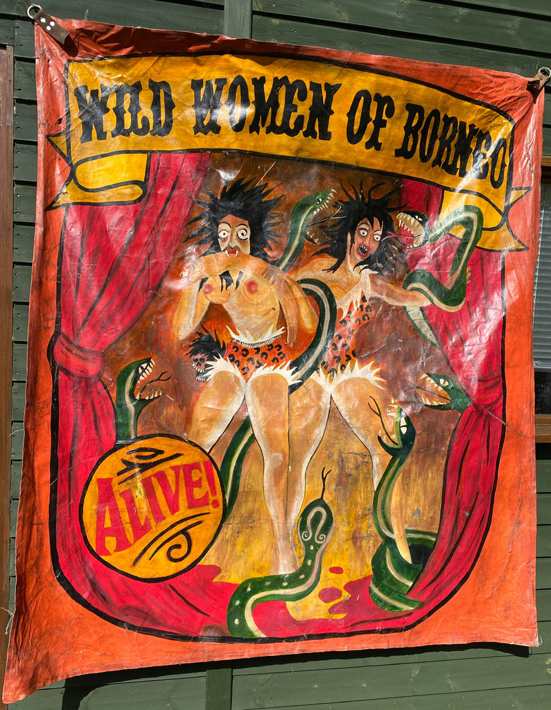 Vintage Circus Freak Banner Wild Women of Borneo painted Art Canvas 6ft x 5ft