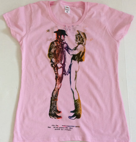 "Seditionaries TWO COWBOYS Naked Punk Tee- Pink Fitted- 32"" - 36"""