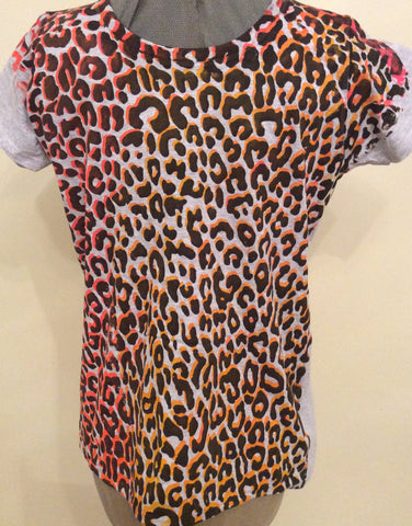 "Leopard T-shirt - Punk Animal print Grey Tee -Black Orange Pink fitted 36""-38"""