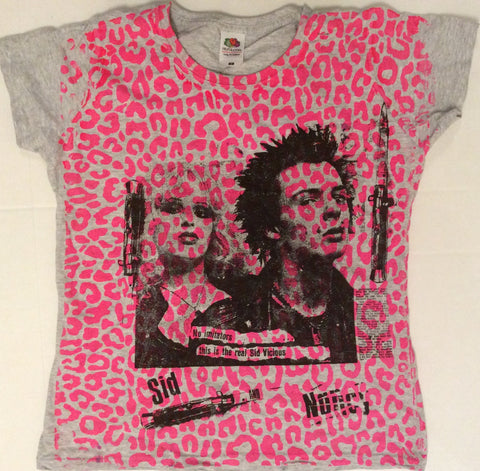 Sid Vicious and Nancy 'No Imitators' Leopard Print Punk T-shirt fitted 36""