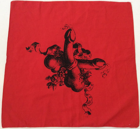 Seditionaries TWO COCKS Bandana - Crossed Penis Emblem Scarf Punk Wall Hanging
